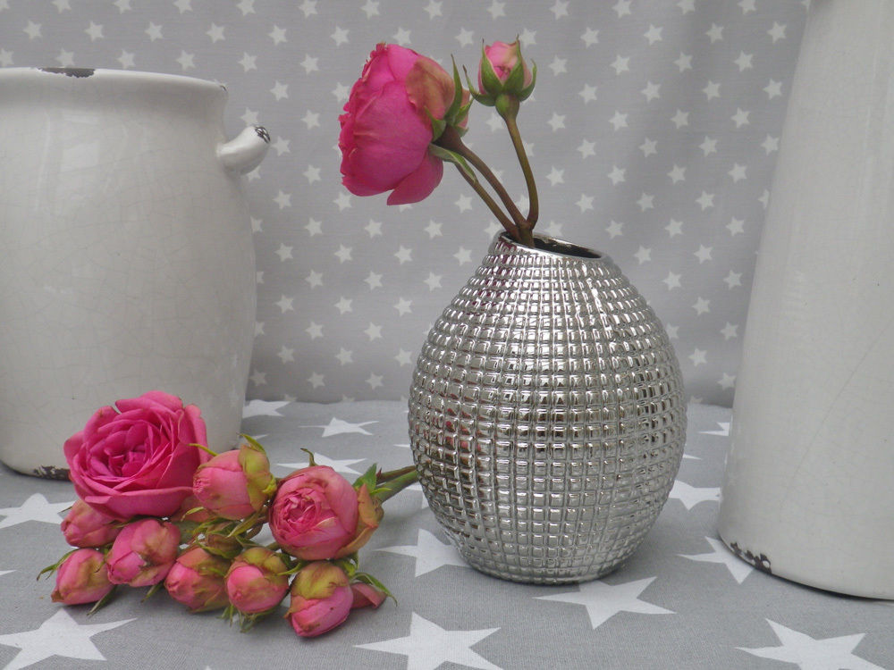 Vase Lucky Silber 13 5 Cm Blumenvase Keramik Skandinavische Deko