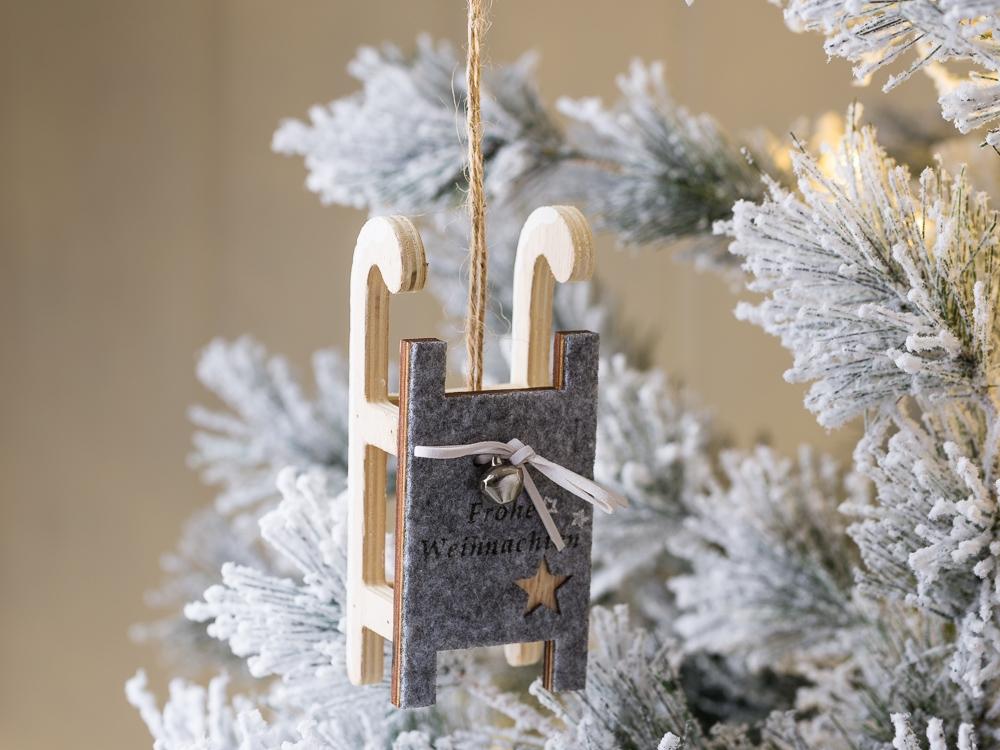 Weihnachtsbaum Hanger Schlitten Holz Weihnachtsdeko