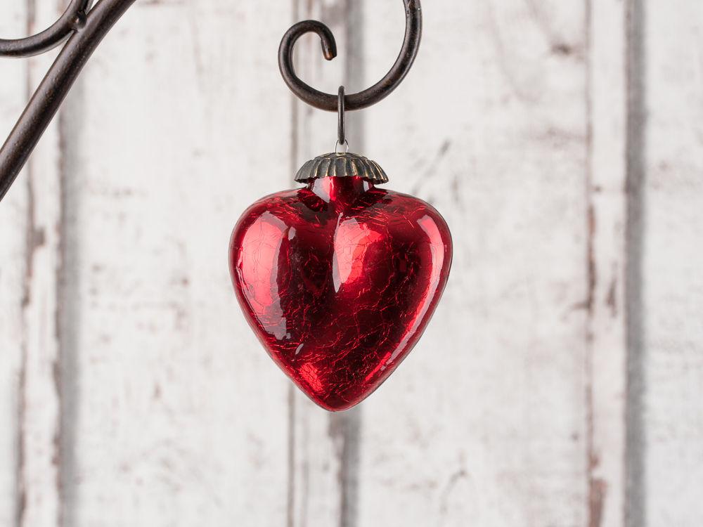 Hanger Herz Rubin Rot Matt Deko Hochzeit Weihnachten Nostalgie