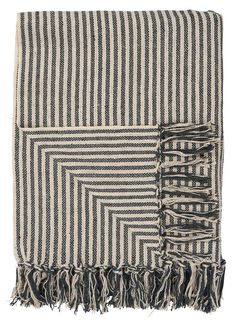 Ib Laursen Plaid Creme Schwarz Streifen Decke Baumwolle Wolldecke