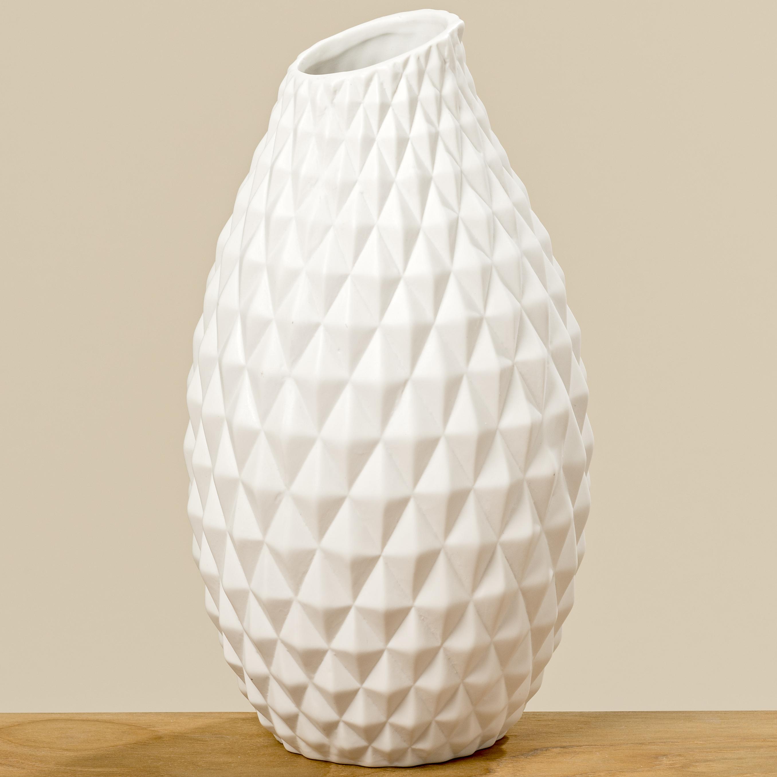 Vase Agnes Weiß Keramik Blumenvase 30 Cm Groß Deko Design Klassik