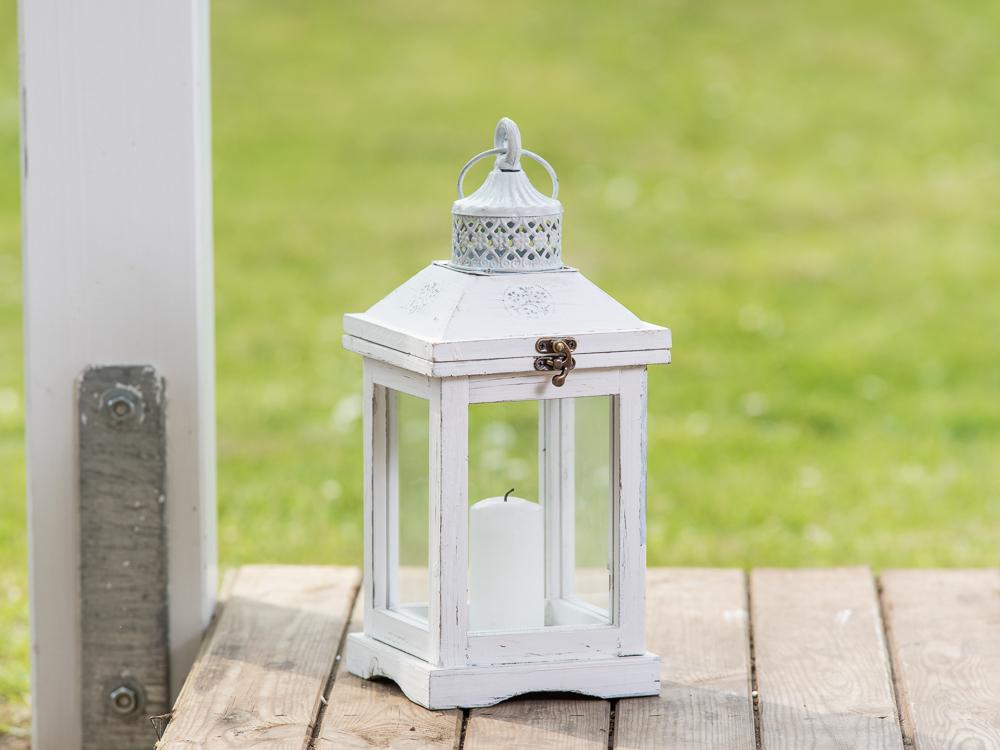 Laterne Romantica 37 Cm Gartenlaterne Holz Weiß Windlicht Shabby