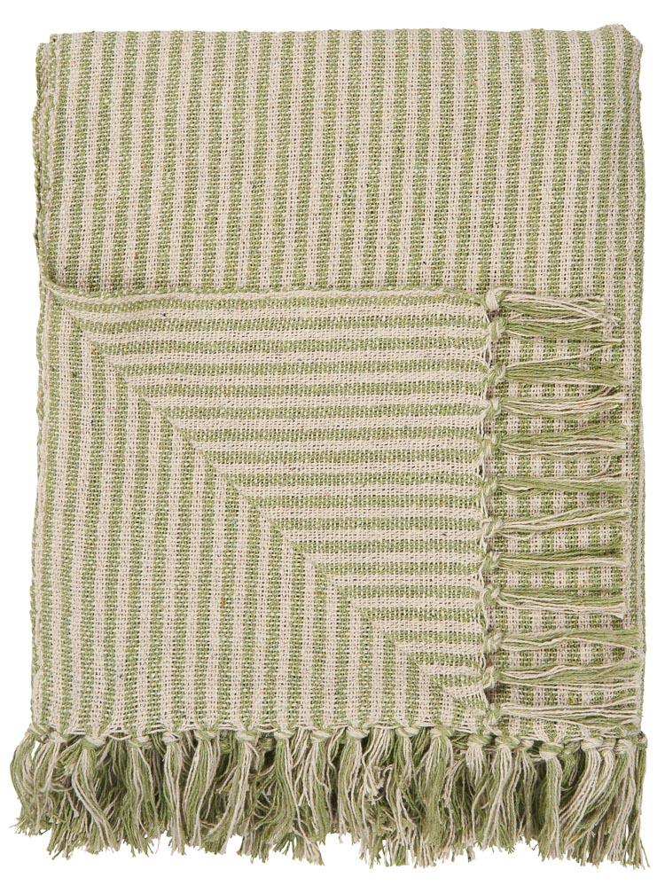 Ib Laursen Plaid Hellgrun Creme Streifen Decke Wolldecke Kuscheldecke Baumwolle