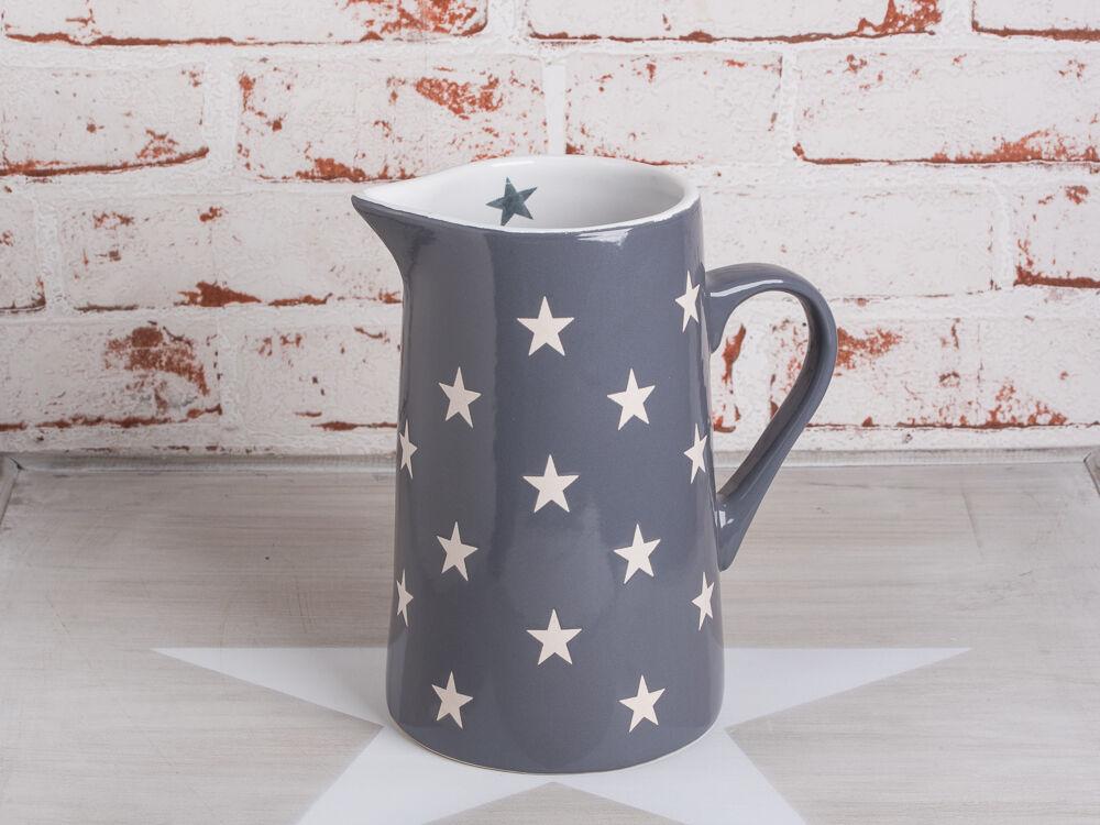 Krasilnikoff Krug BRIGHTEST STAR Dunkelgrau Kanne grau Sterne weiß Karaffe 1,25L