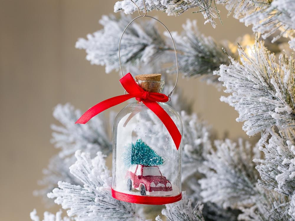 Weihnachtsdeko Schneekugel.Weihnachtsbaum Hänger Schneekugel Auto Baum Rot Weihnachtsdeko Tannenbaumschmuck