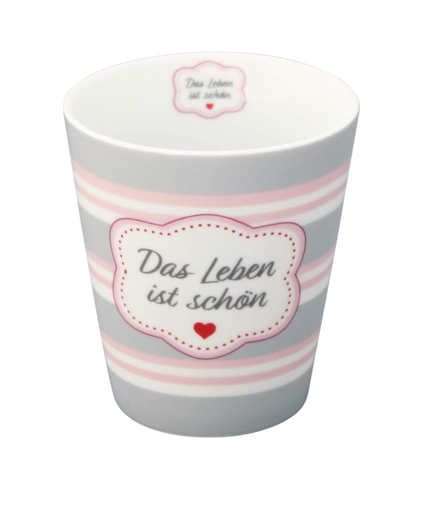 Krasilnikoff Becher Happy Mug DAS LEBEN IST SCHÖN Streifen Tasse Porzellan