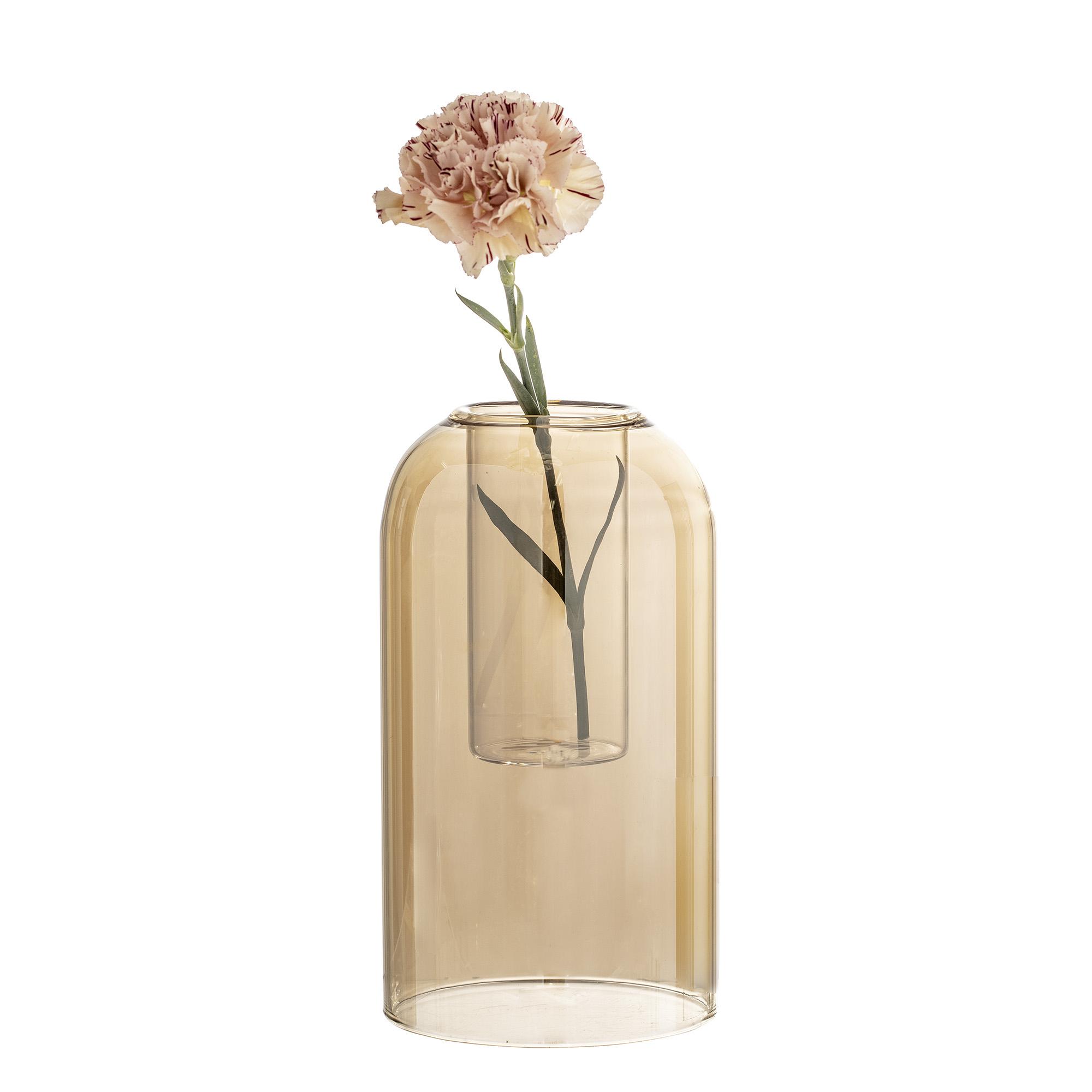 Bloomingville Vase Dom Glas Gold Braun Rund 23 Cm Hoch Blumenvase
