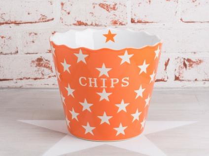 Krasilnikoff CHIPS Schale Orange Stern Schüssel STERNE weiß Happy Stars Keramik