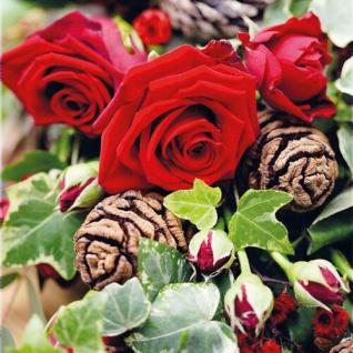 Ambiente Servietten ROSES 20 Stück Rote Rosen Blumen 3-lagig 33x33 Tannenzapfen