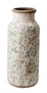 Affari Vase VICTORIA Grau weiß Keramik Steingut Blumenvase 38 cm Vintage Deko