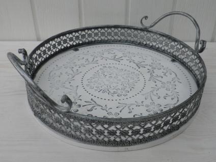 Deko Tablett ROMANTICA rund 28 cm weiß Metallrand grau Shabby Chic Landhaus Stil