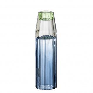 Bloomingville Kerzenhalter / Vase Glas Blau Kerzenständer Blumenvase 17 cm hoch