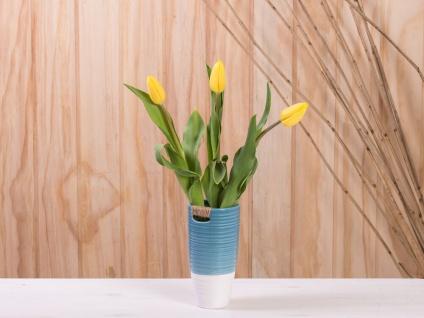 Vase ELLA blau weiß 17 cm Keramik Blumenvase Skandinavische Deko