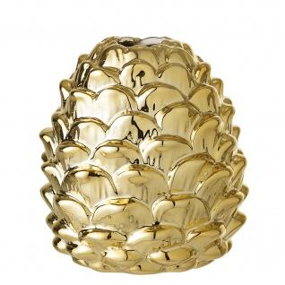 Bloomingville Vase Gold Zapfen Porzellan Windlicht Tannenzapfen Blumenvase