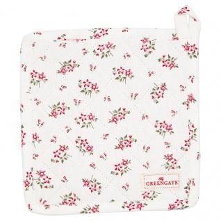 Greengate Topflappen AVERY Weiß 2er Set mit Blumen Baumwolle 20x20 cm