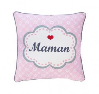 Krasilnikoff Kissenhülle MAMAN Rosa pink Blumen Kissenbezug Mama Kissen 50x50