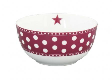 Krasilnikoff Schale Happy Bowl PUNKTE Pflaume Müslischale Porzellan Schüssel