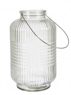 Affari Windlicht Laterne ANJA Weiß 38 cm Glas Vase Deko Gartenlaterne Tischdeko