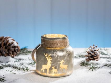 Windlicht WINTERWALD Gold Bronze matt Glas 12 cm Weihnachten Kordel HIRSCH