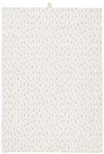 IB Laursen Geschirrtuch Weiß mit Tannenbäumen Taupe Baumwolle Geschirrhandtuch