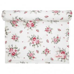 Greengate Tischläufer ELOUISE Weiß Rot Blumen Baumwolle 45x140 cm Tischdecke