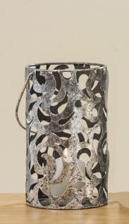 Windlicht Laterne CAHAJA 22 cm Silber Antik Design Floral Muster Metall Henkel