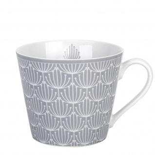Krasilnikoff Happy Cup Becher BLOSSOM Hellgrau Tasse 300 ml Porzellan Geschirr