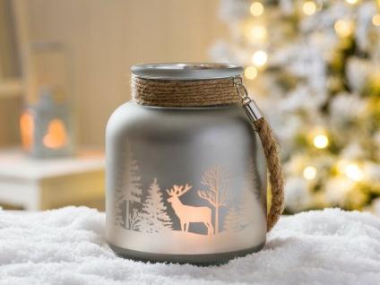 Windlicht WINTERWALD mit Kordel hellgrau 16 cm Hirsch Motiv Glas