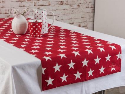 Krasilnikoff Tischläufer STERNE Rot Weiß rote Stern Tischdecke Table Runner