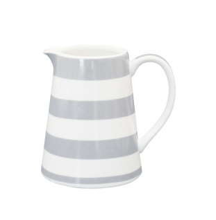 Krasilnikoff Milchkännchen STREIFEN hellgrau weiß grau gestreift Porzellan