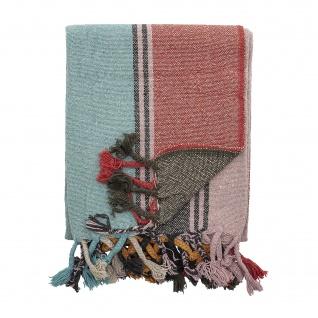 Bloomingville Decke Multi Color Gestreift Recycelt Baumwolle 130x160 Wolldecke