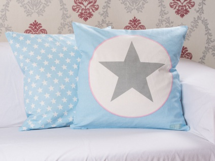 Krasilnikoff Kissenhülle 50x50 STERN Blau Kissenbezug hellblau grau Sterne weiß