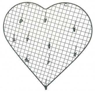 IB Laursen HERZ 10 Clips Metall Grau 38 cm Deko Hänger Herzform Hochzeitsdeko