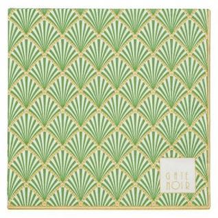 Greengate Servietten FAN grün Goldrand Gate Noir Serviette 20 Stck Papier 16.5cm