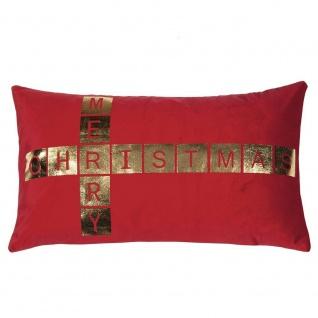Pad Kissen GREET rot Merry Christmas Kissenhülle 30x50 Pad Concept Kissenbezug