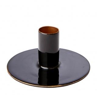 Affari Kerzenhalter RIVER Schwarz Metall Kerzenständer Rund für 1 Kerze
