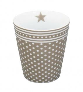 Krasilnikoff Happy Mug Becher MICRO DOTS Taupe Punkte Kaffeebecher Tasse