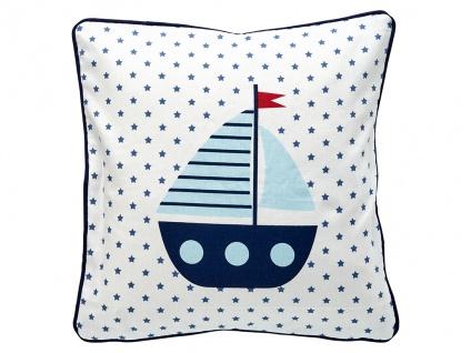 Greengate Kissen NOAH Weiß mit Segelboot 40x40 Kissenbezug Baumwolle Kissenhülle