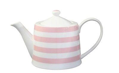 Krasilnikoff Teekanne STREIFEN Rosa weiß pink gestreift Porzellan Geschirr Kanne