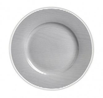 Krasilnikoff Teller STREIFEN Porzellan Nadelstreifen grau Kuchenteller 20 cm