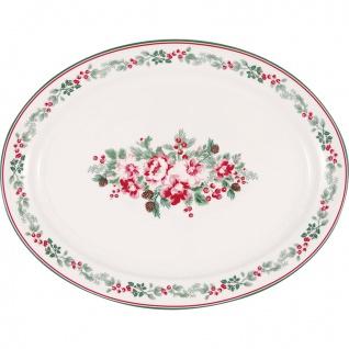 Greengate Servierplatte CHARLINE Oval 25x33 cm Blumen Porzellan Geschirr