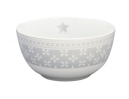 Krasilnikoff Schale Happy Bowl DAISY Hellgrau Blumen weiß Müslischale Porzellan