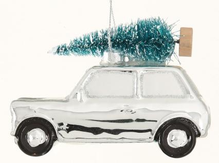 Tannenbaum Hänger Auto mit Baum auf Dach silber Glas 10 cm Weihnachtsdeko hängen