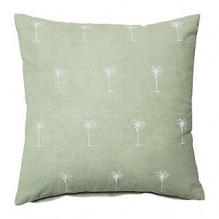 Bloomingville Kissen 45x45 grün mit weißen Palmen inkl Füllung Baumwolle