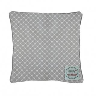 Krasilnikoff Kissenhülle 50x50 HERZEN Diagonal grau weiß Herz Kissenbezug
