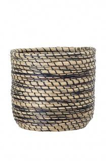 Bloomingville Korb Seegras rund schwarz natur 27x24 cm Deko Korb Wäschekorb
