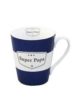 Krasilnikoff Happy Mug SUPER PAPA Dunkelblau Henkel Becher Stern Streifen
