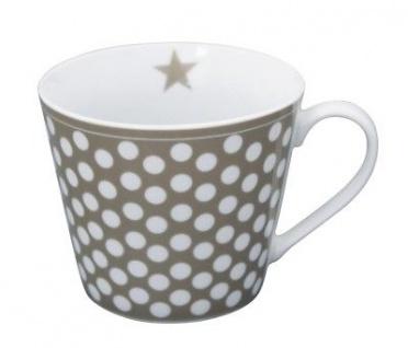 Krasilnikoff Happy Cup Henkel Becher BIG DOTS Taupe PUNKTE Tasse Porzellan
