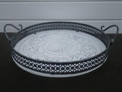 Deko Tablett ROMANTICA rund 37 cm weiß Metallrand grau Shabby Chic Landhaus Stil