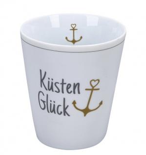 Krasilnikoff Becher Happy Mug KÜSTENGLÜCK ANKER Gold Kaffeebecher 250 ml Tasse